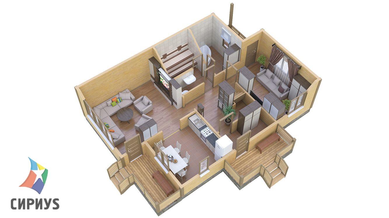 Дом из бруса БСУ-ПБ 21