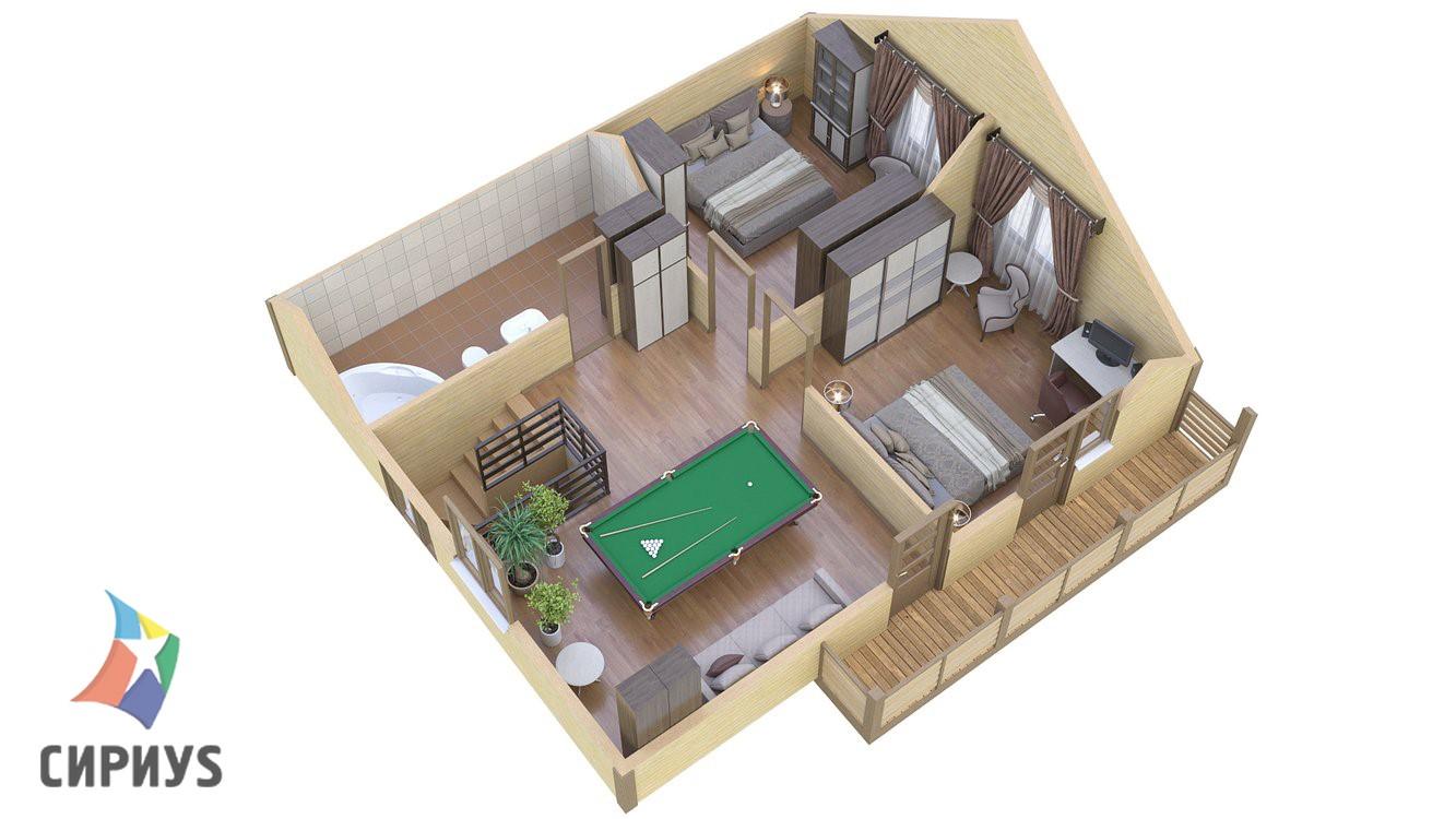 Дом из бруса БСУ-ПБ 24
