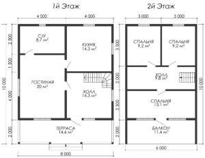 Дом из бруса БСУ-УС 53