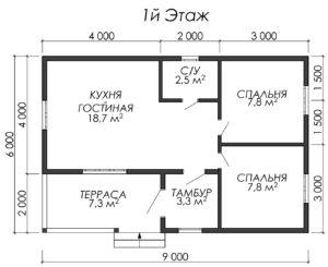 Дом из бруса БСУ-УС 3