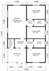 Дом из бруса БСУ-УС 36