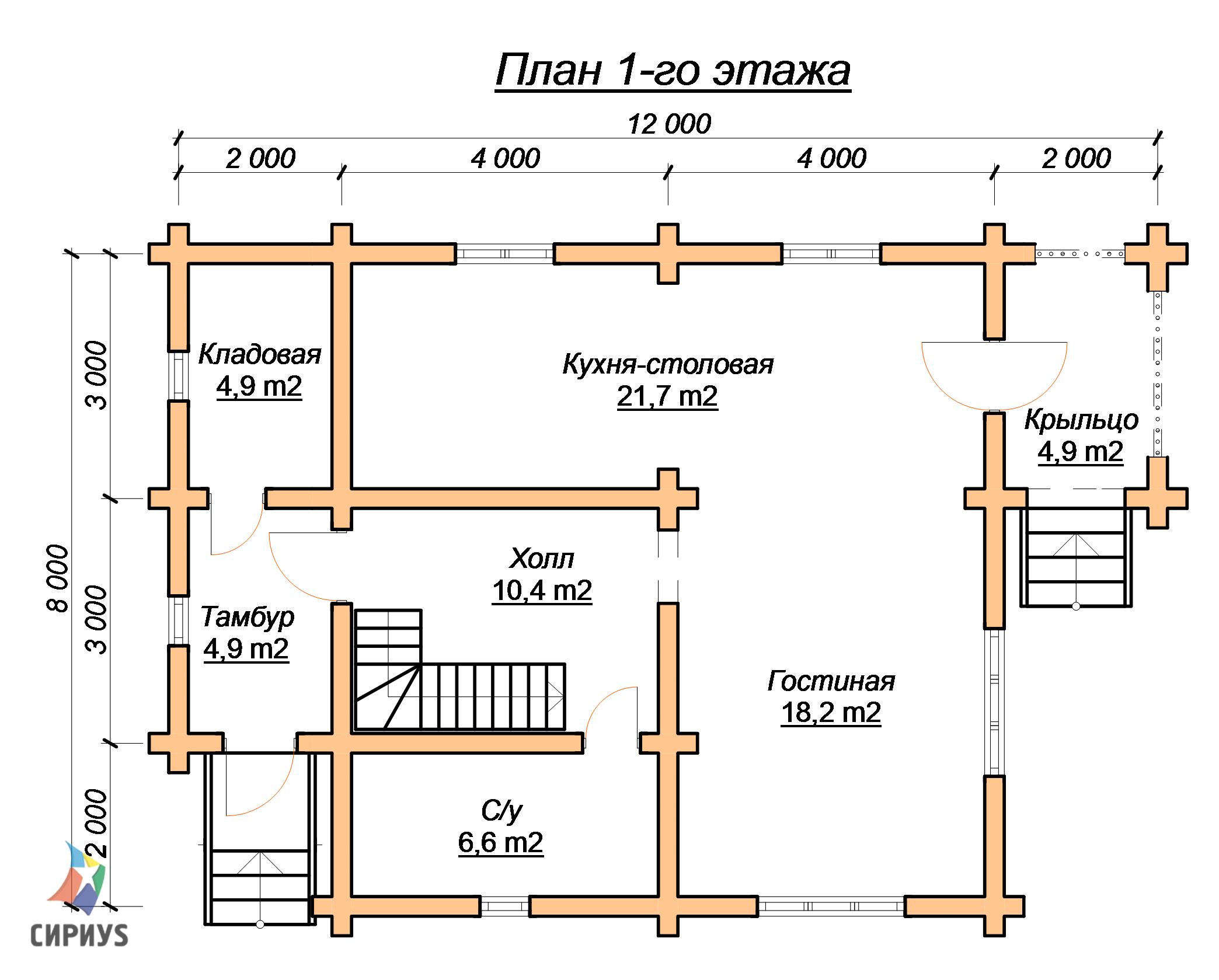 Дом из бревна БСУ-КБ 12