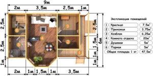 Деревянная баня БСУ-БП 5