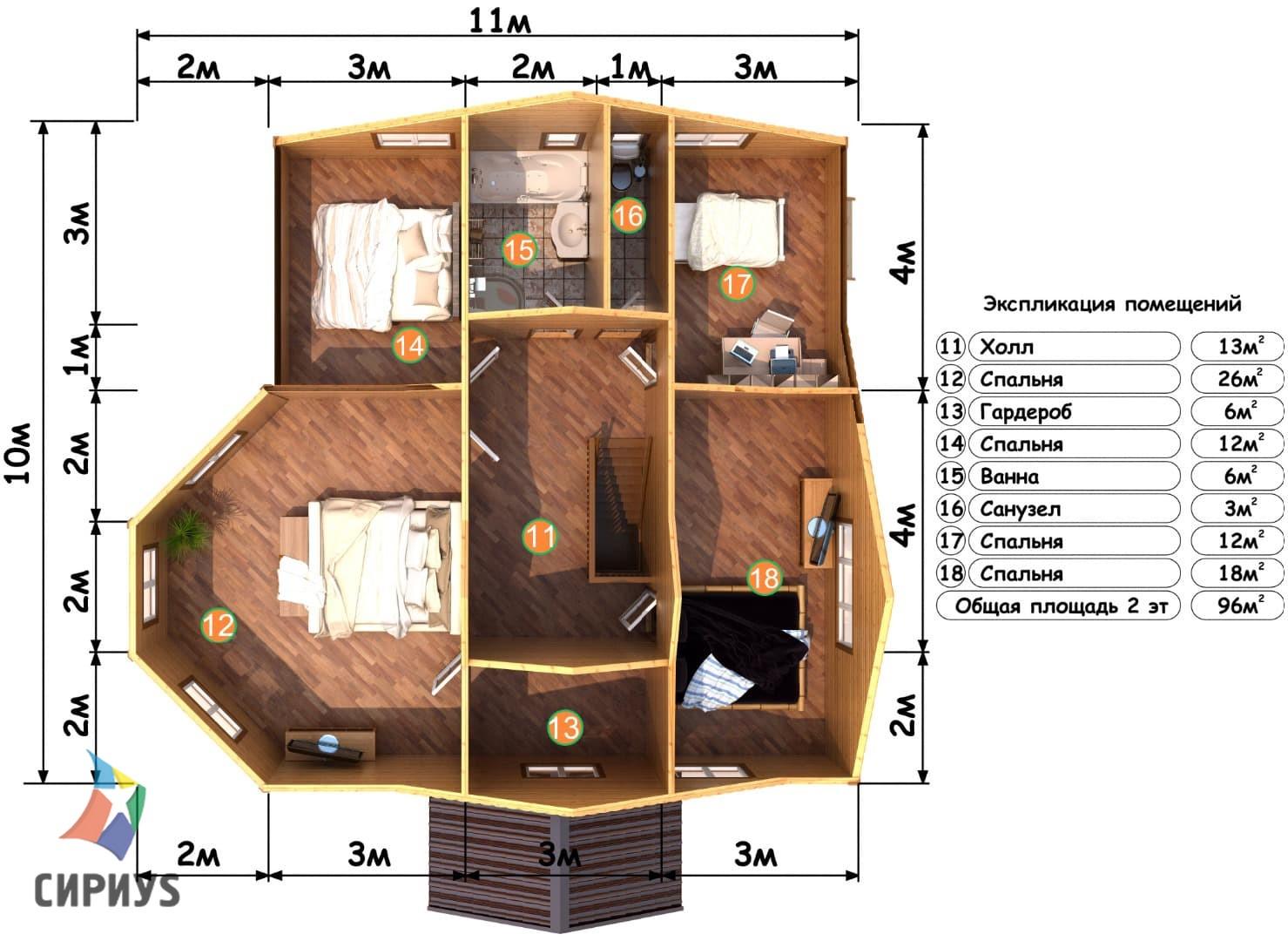 Деревянная баня БСУ-БП 11