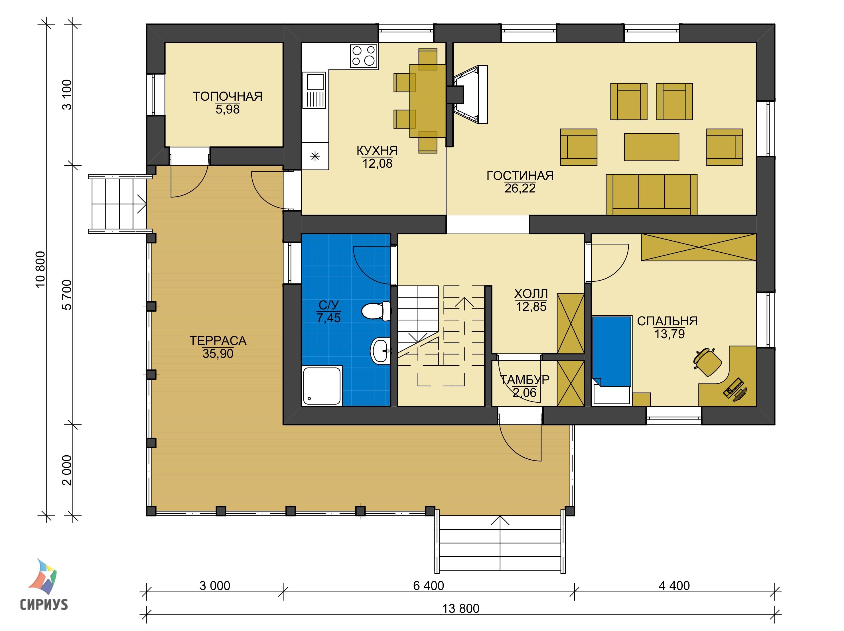 Каркасный дом БСУ-КД 42