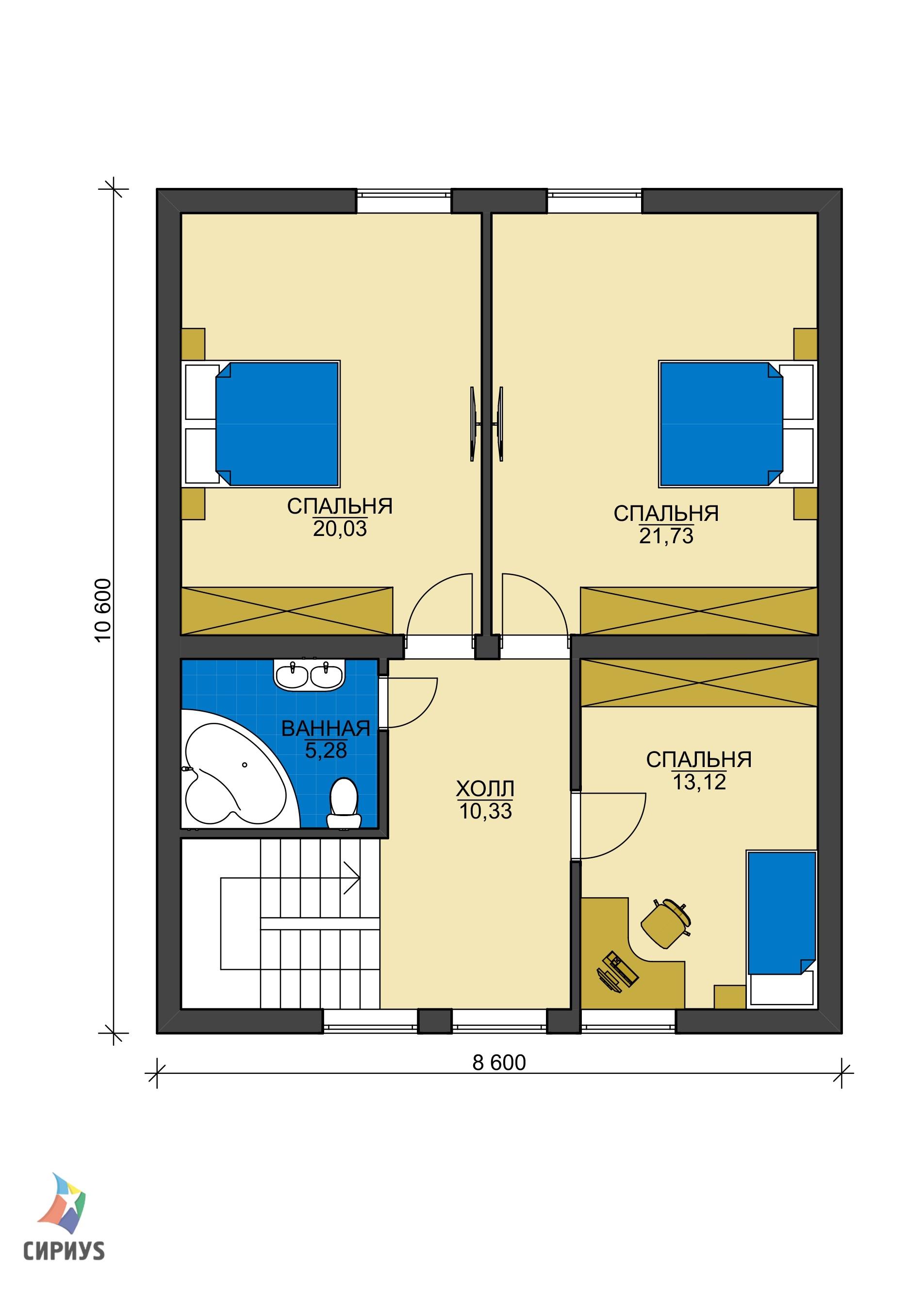 Каркасный дом БСУ-КД 46