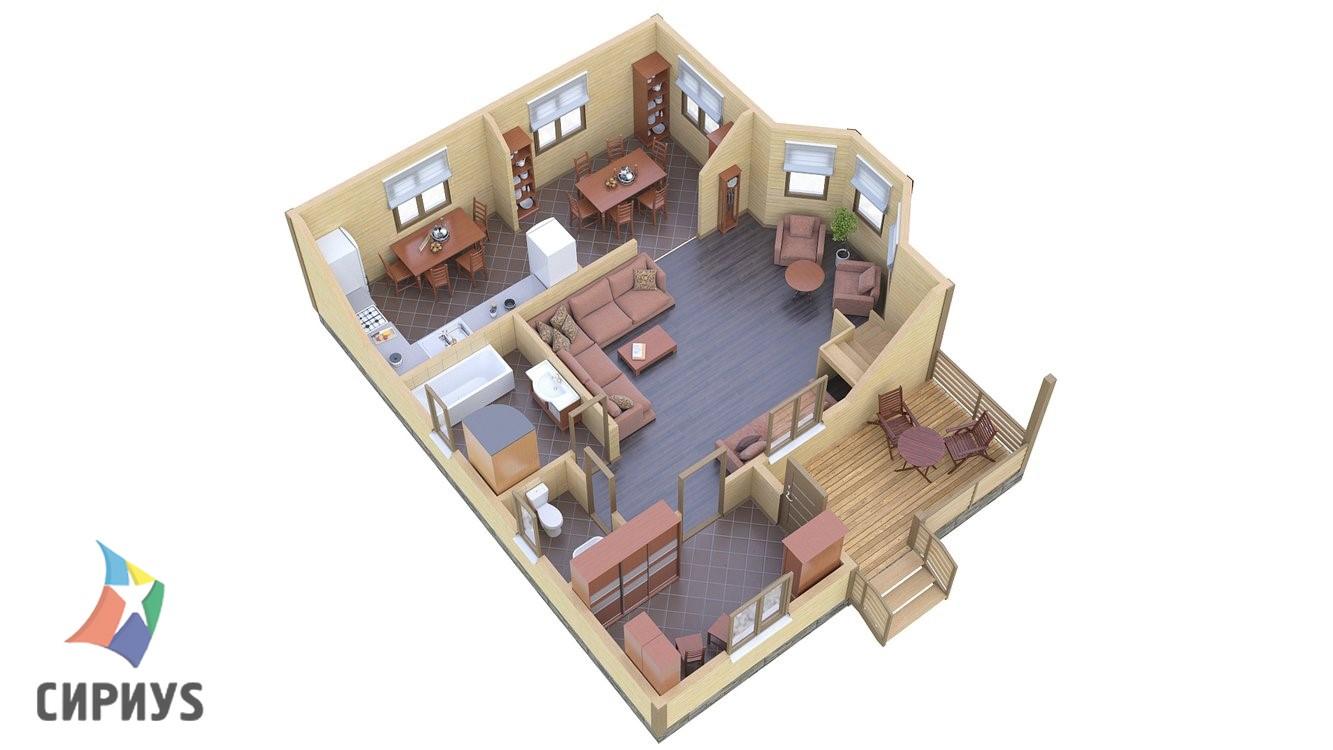 Каркасный дом БСУ-КД 26